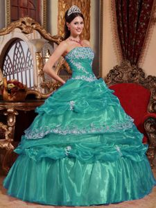 Turquoise Strapless Appliques Pick-ups Pleated Quinceanera Gown