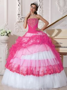 Hot Pink and White Organza and Taffeta Appliques Dress for Quince