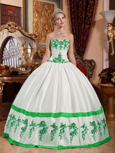 Strapless White and Green Pleated Appliques Dress for Quince Plus