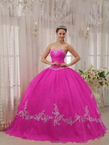 Hot Pink Sweetheart Appliques Ball Gown Dress for Quince Designer