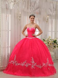 Popular Coral Red Strapless Ruched Sweet 15 Dresses with Appliques