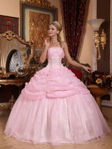 Strapless Baby Pink Appliques Sweet 15 Dresses with Pick-ups