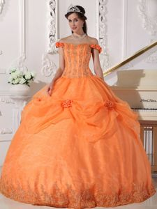 Orange off the Shoulder Pick-ups 3D Flowers Quinceanera Gowns