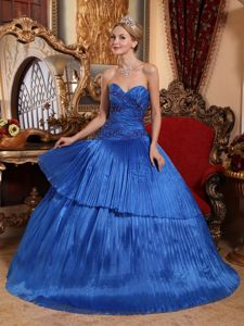 Royal Blue Appliques Ruched Bodice Dress for 15 with Pleated Layers