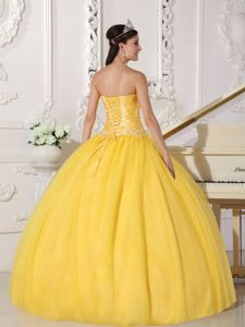 Yellow Strapless Taffeta Nd Organza Appliques Sweet 15 Dresses