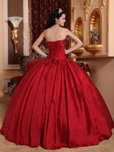 Red Strapless Beading Lace up Back Ruffled Sweet Sixteen Dresses