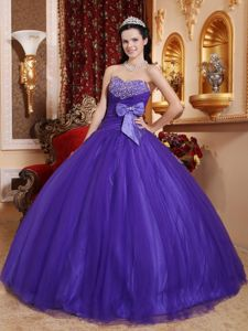 Purple Sweetheart Beading Dresses for 15 with a Bowknot on Waist