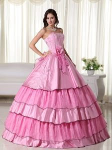 Rose Pink Layered Embroidery Hand Made Flower Sweet 15 Dresses