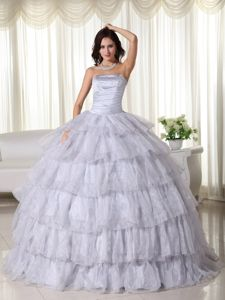 Light Gray Multi-tiered Beading Organza Dresses for Quinceanera