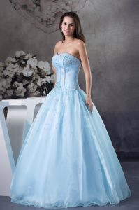 a-Line Light Blue Strapless Beading Dresses for 15 Custom Made