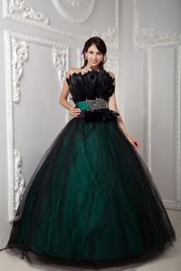 Feather Decorate Black and Green Sweet Sixteen Dresses with Belt