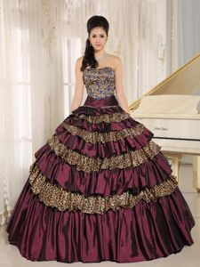 Burgundy Strapless Multi-tiered Ruffled Dresses for 15 with Leopard