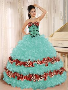 Colorful Lace Decorate Ruffles Strapless Sweet 15 Dresses Leopard