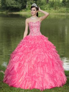Rose Pink Beading Sweet Heart Sweet Sixteen Dresses with Ruffles