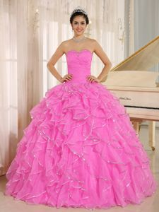Attractive Pink Beading and Ruffles Sweetheart Sweet 15 Dresses
