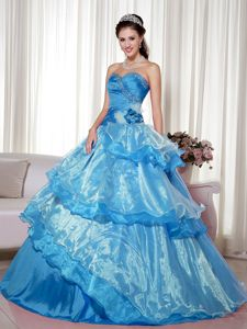Chic Aqua Blue Multi-tiered Beading Hand Made Flower 16 Dresses