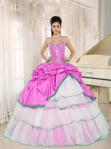 Lovely Hot Pink and White Sweet 16 Dress with Rhinestones