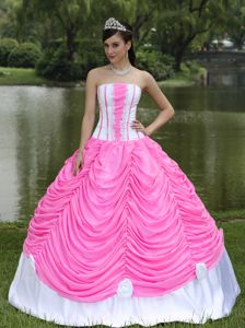 Rose Pink and White Appliqued Ruffled Quinceanera Dresses