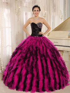 Cannes Movie Festival Black and Hot Pink Sweet Sixteen Quince Dress with Rhinestones