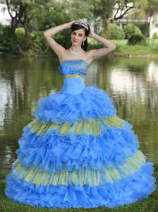 Multi-tiered Beaded Blue and Yellow Quinceanera Gown Dresses