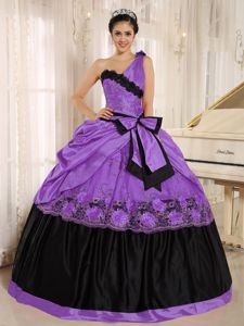 One Shoulder Purple and Black Quinceanera Dress with Bow