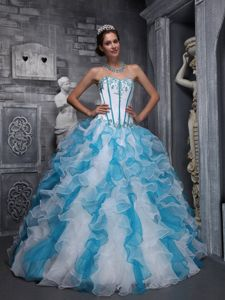 Corset Appliqued Ruffled White and Aqua Blue Quinces Dress