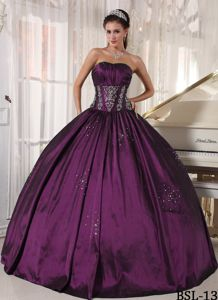 Discount Embroidery Beaded Eggplant Purple Quinceanera Dress