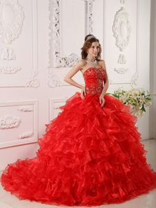 Red Organza Sweet 16 Dresses with Layered Ruffles and Train