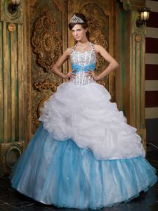 White and Blue Halter Beaded Quinceanera Dress with Pick-ups