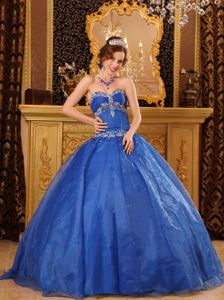 Blue Sweetheart Organza Appliques Dress for Quinceanera