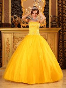 Spaghetti Straps Beaded Ball Gown Tulle Sweet Sixteen Dresses
