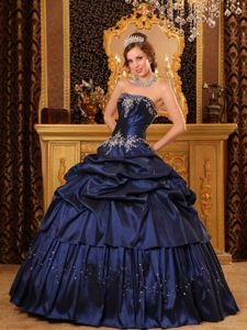 Navy Blue Pick-ups Taffeta Appliques Dress for Quinceanera