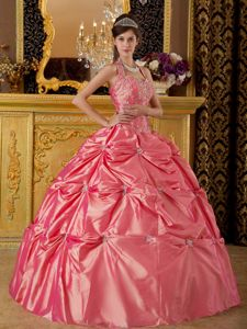 Watermelon Halter Taffeta Pick-ups Quinceanera Gown Dresses