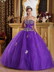 Purple Sweetheart Tulle Dress for Quinceanera with Appliques