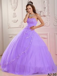 Lavender Sweetheart Quinceanera Gown Dresses with Appliques