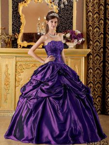 Purple Ball Gown Taffeta Sweet Sixteen Dresses with Pick-ups