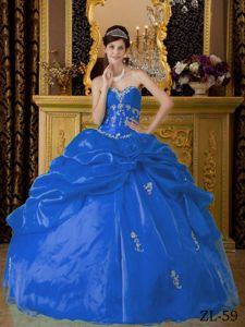 Blue Organza Appliques Quince Dresses with Pick-ups and Flowers