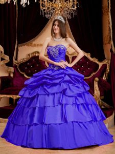 Sweetheart Layered Taffeta Appliques Sweet Sixteen Dresses
