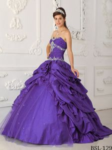 Taffeta and Tulle Appliques Quince Dresses with Pick-ups