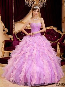 Beaded Organza Dress for Quinceanera with Ruches and Ruffles