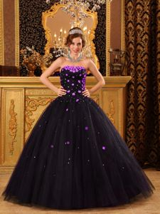 Black Strapless Tulle Dress for Quinceanera with Appliques