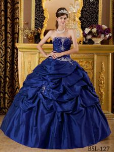 Dark Blue Taffeta Sweet Sixteen Dresses with Pick-ups