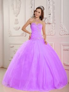 Lilac Sweetheart Floor-length Tulle Dress for Quinceanera