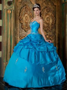 Ball Gown Floor-length Taffeta Appliques Quinceanera Dresses
