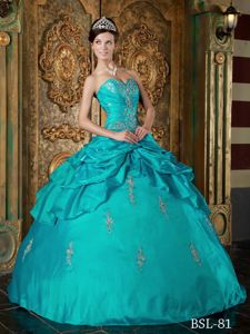 Teal Sweetheart Taffeta Sweet Sixteen Dresses with Appliques