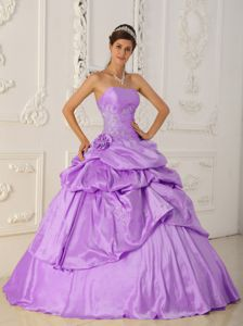 Lilac Princess Taffeta Quinceanera Gown Dresses with Beading