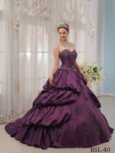 Sweetheart Ball Gown Taffeta Sweet Sixteen Dresses with Train