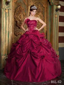 Wine Red Taffeta Beaded Dress for Quinceanera with Pick-ups