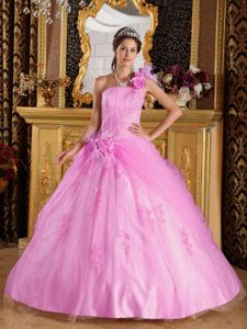 Popular Pink One Shoulder Sweet Sixteen Dresses with Appliques
