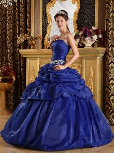Blue Floor-length Organza Quinceanera Gown Dresses with Pick-ups